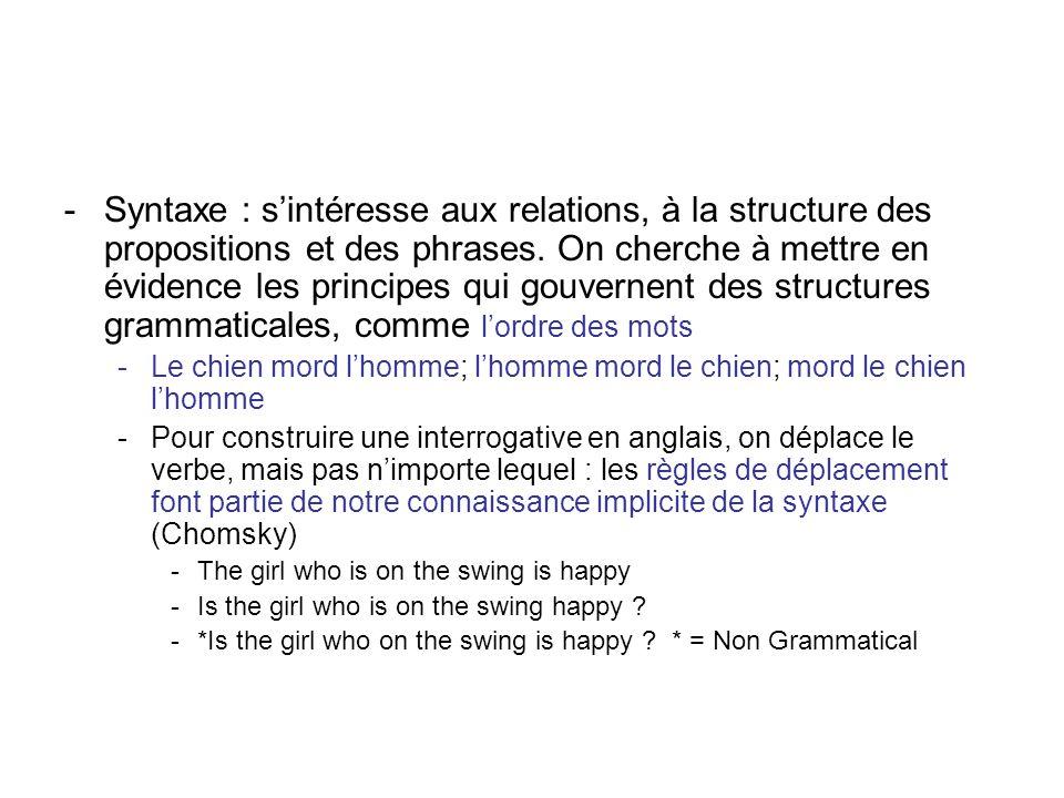 Syntaxe : s'intéresse aux relations, à la structure des propositions et des phrases. On cherche à mettre en évidence les principes qui gouvernent des structures grammaticales, comme l'ordre des mots