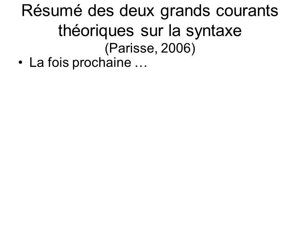 Résumé des deux grands courants théoriques sur la syntaxe (Parisse, 2006)