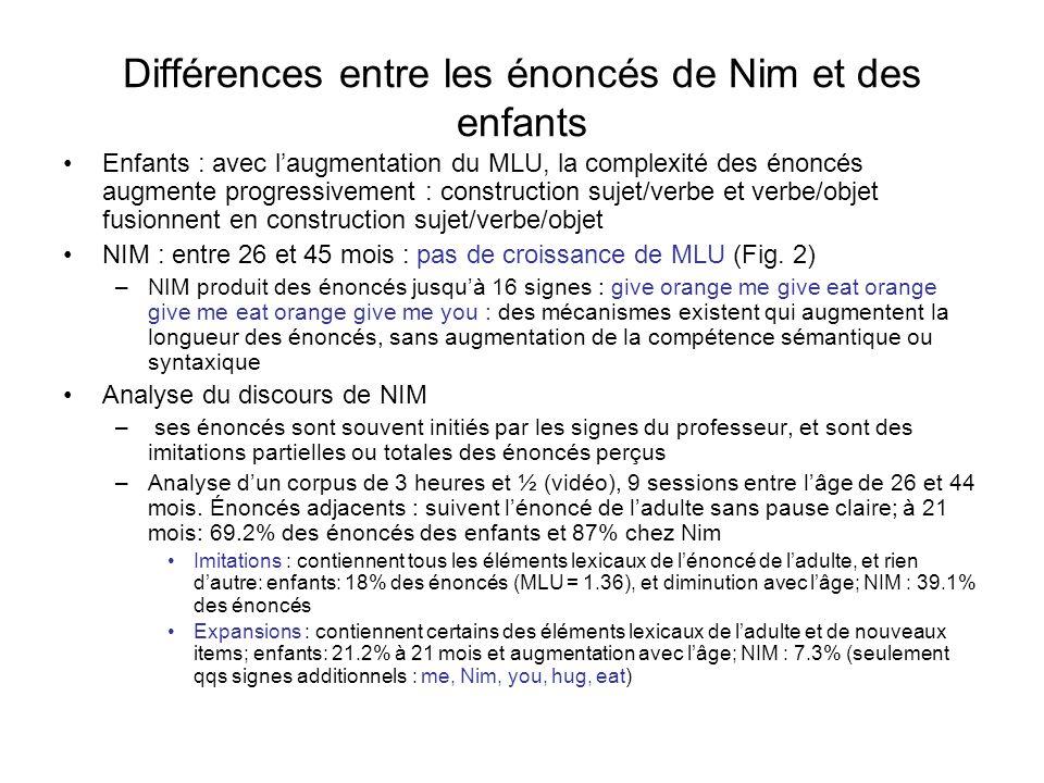 Différences entre les énoncés de Nim et des enfants