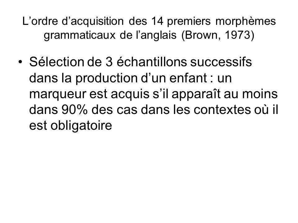 L'ordre d'acquisition des 14 premiers morphèmes grammaticaux de l'anglais (Brown, 1973)