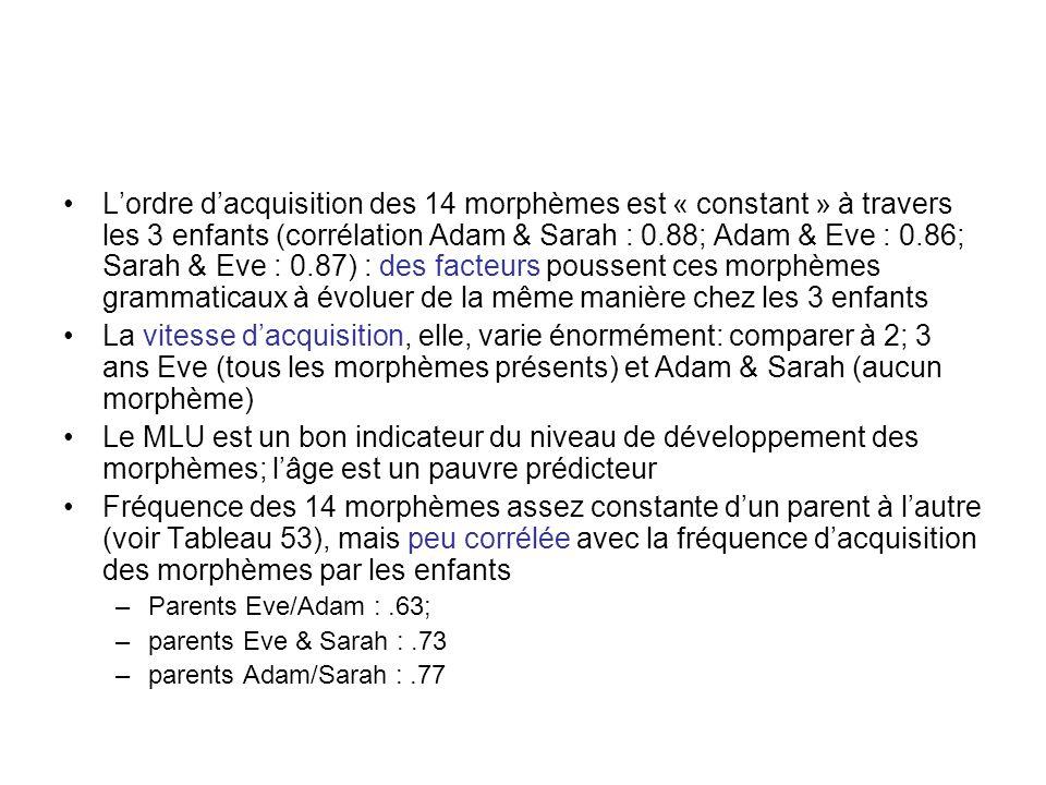L'ordre d'acquisition des 14 morphèmes est « constant » à travers les 3 enfants (corrélation Adam & Sarah : 0.88; Adam & Eve : 0.86; Sarah & Eve : 0.87) : des facteurs poussent ces morphèmes grammaticaux à évoluer de la même manière chez les 3 enfants