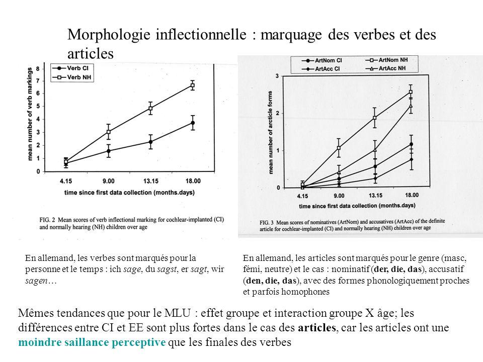 Morphologie inflectionnelle : marquage des verbes et des articles