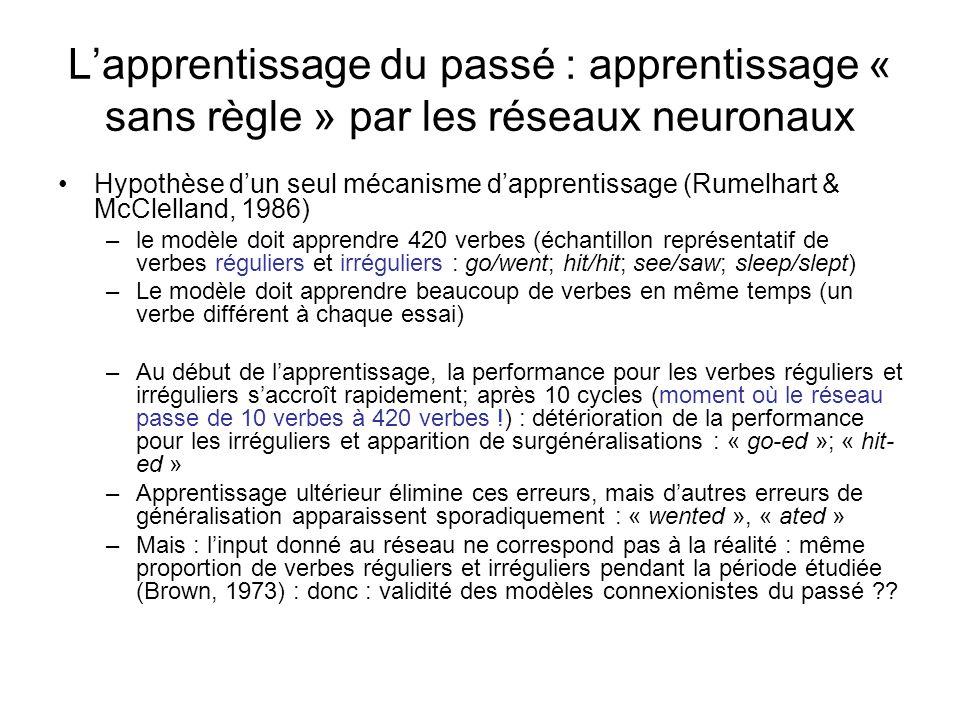 L'apprentissage du passé : apprentissage « sans règle » par les réseaux neuronaux