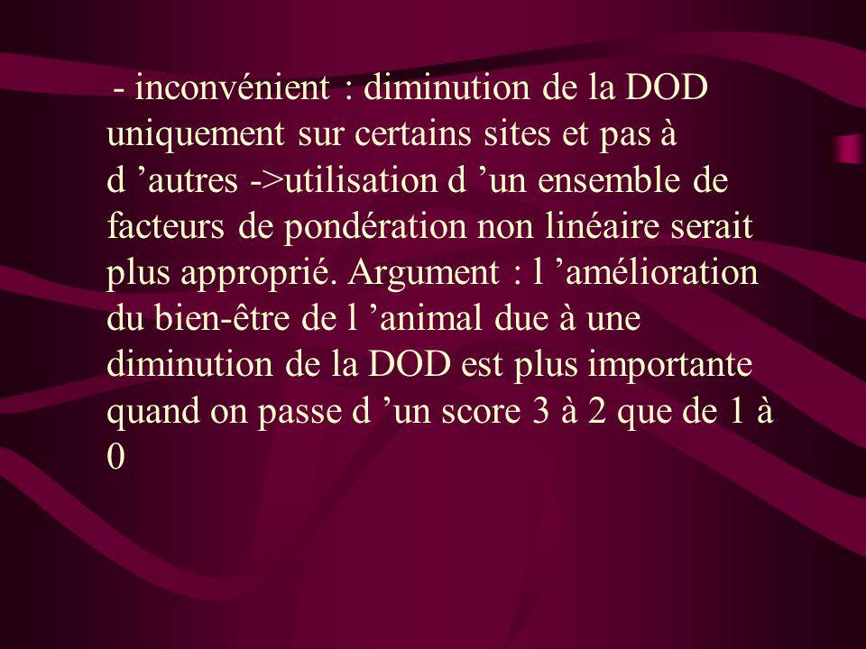 - inconvénient : diminution de la DOD uniquement sur certains sites et pas à d 'autres ->utilisation d 'un ensemble de facteurs de pondération non linéaire serait plus approprié.