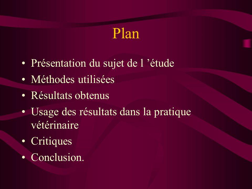 Plan Présentation du sujet de l 'étude Méthodes utilisées