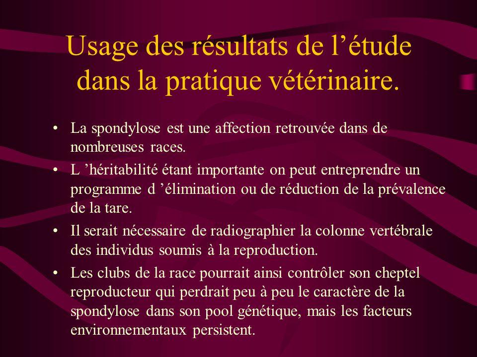 Usage des résultats de l'étude dans la pratique vétérinaire.