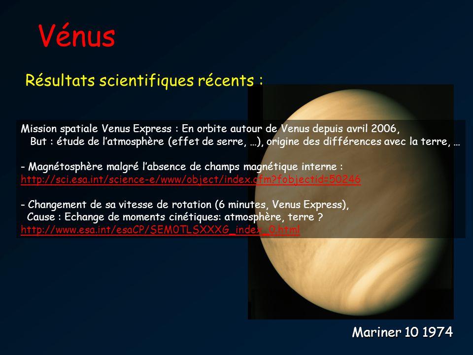 Vénus Résultats scientifiques récents : Mariner 10 1974