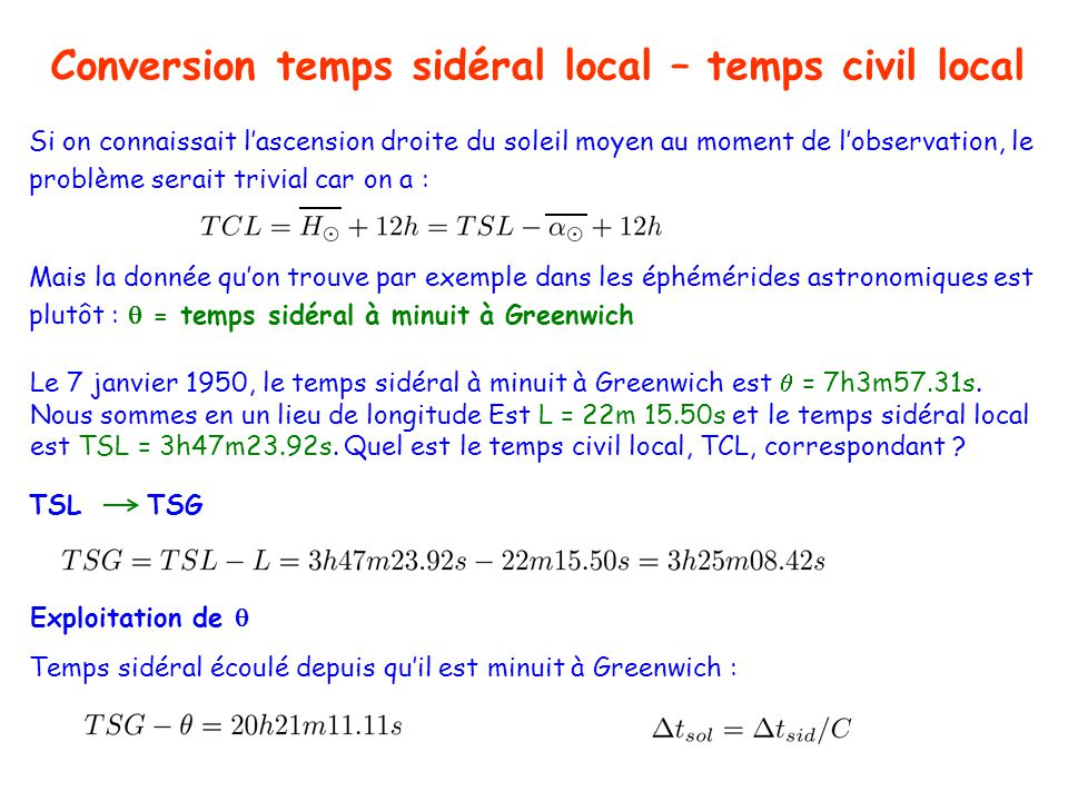 Conversion temps sidéral local – temps civil local