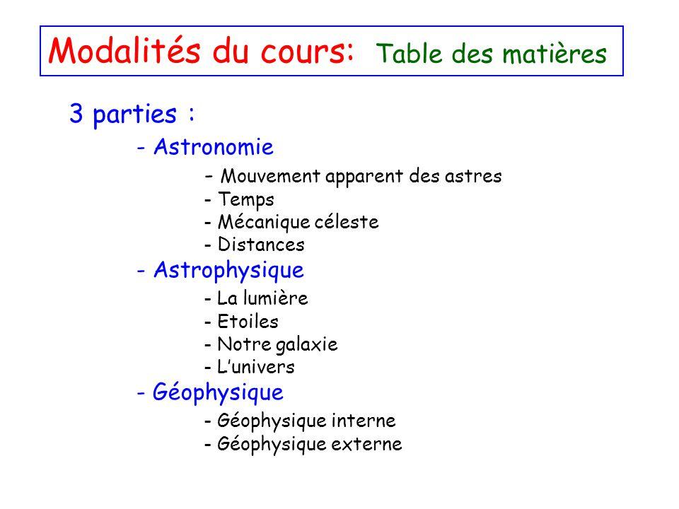 Modalités du cours: Table des matières 3 parties : - Astronomie