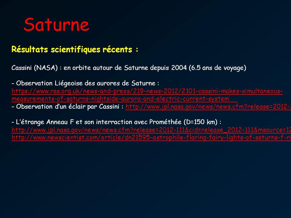 Saturne Résultats scientifiques récents :