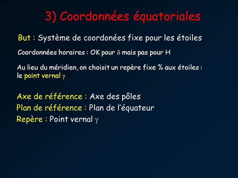 3) Coordonnées équatoriales