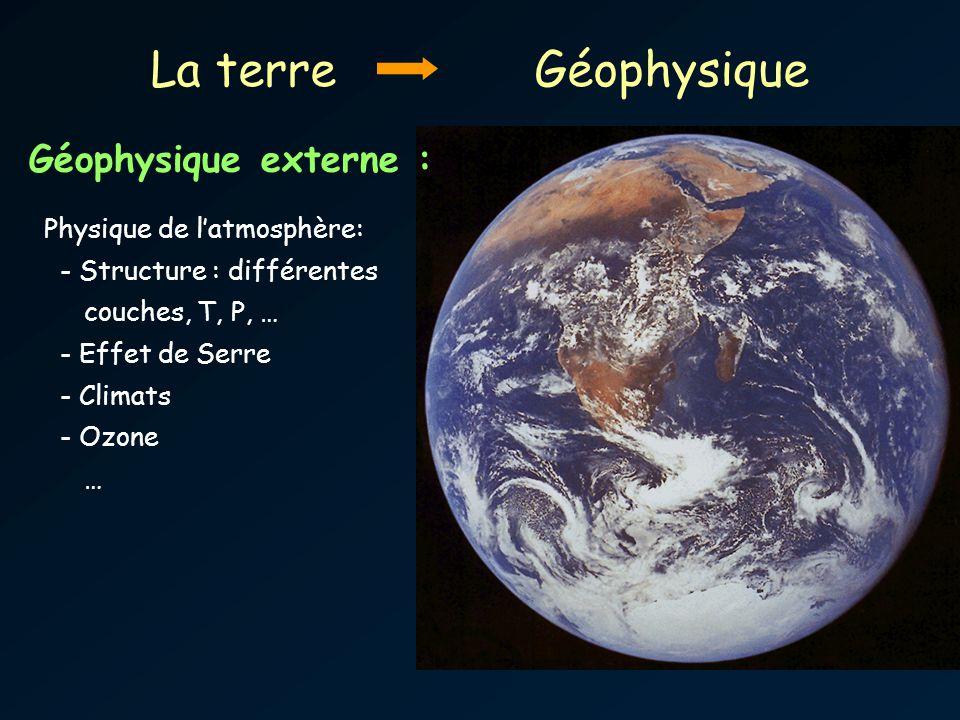 La terre Géophysique Géophysique externe : Physique de l'atmosphère: