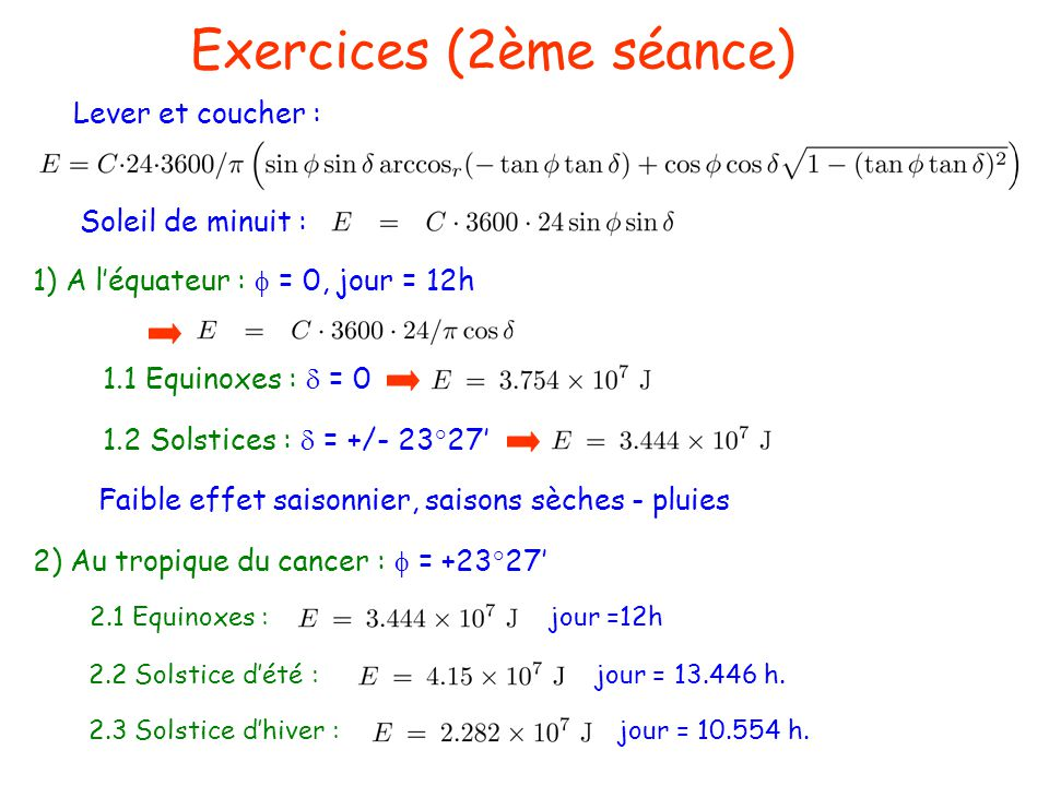 Exercices (2ème séance)