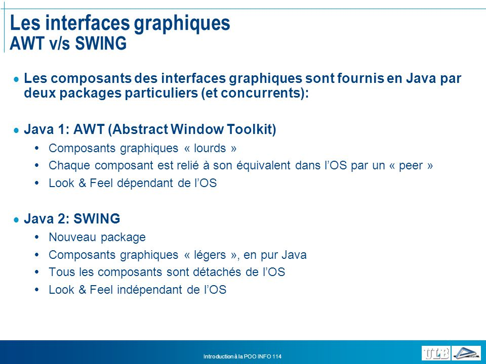 Les interfaces graphiques AWT v/s SWING