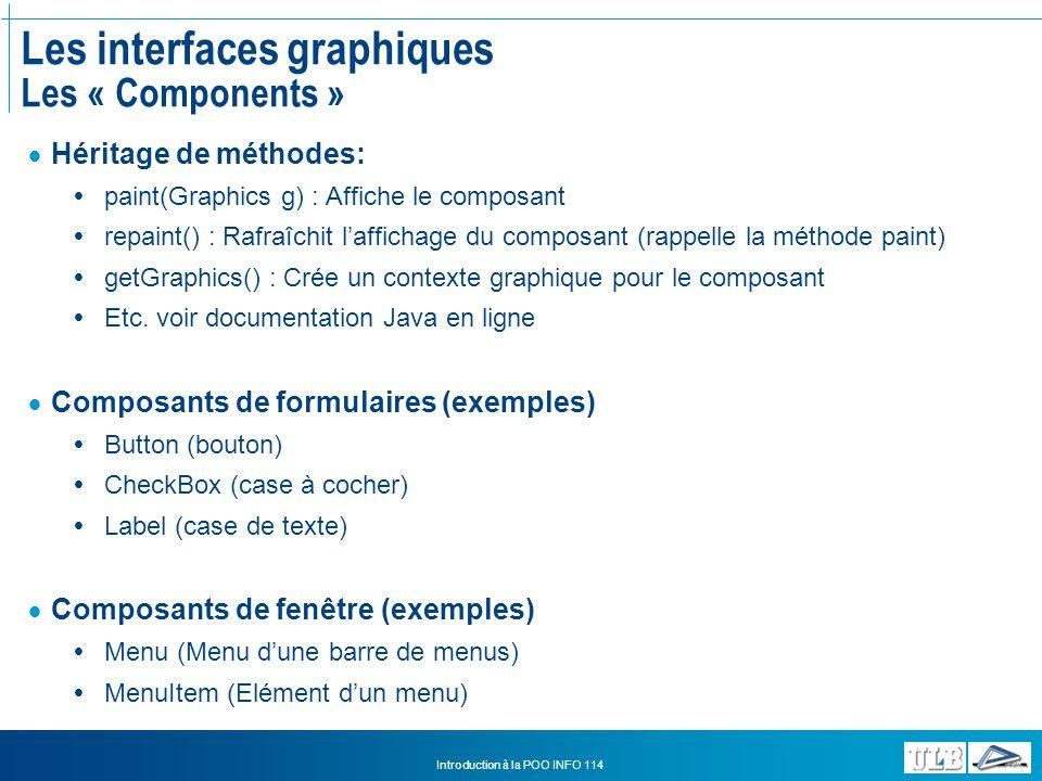 Les interfaces graphiques Les « Components »