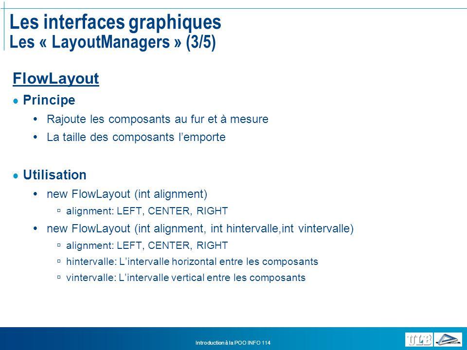 Les interfaces graphiques Les « LayoutManagers » (3/5)