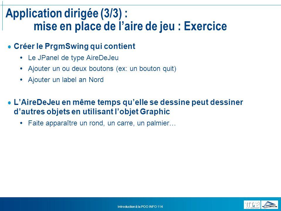 Application dirigée (3/3) : mise en place de l'aire de jeu : Exercice