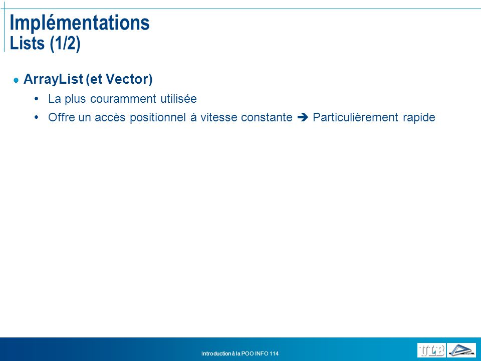 Implémentations Lists (1/2)