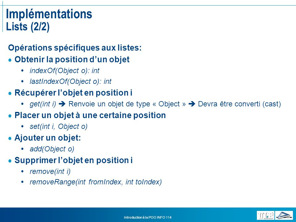 Implémentations Lists (2/2)