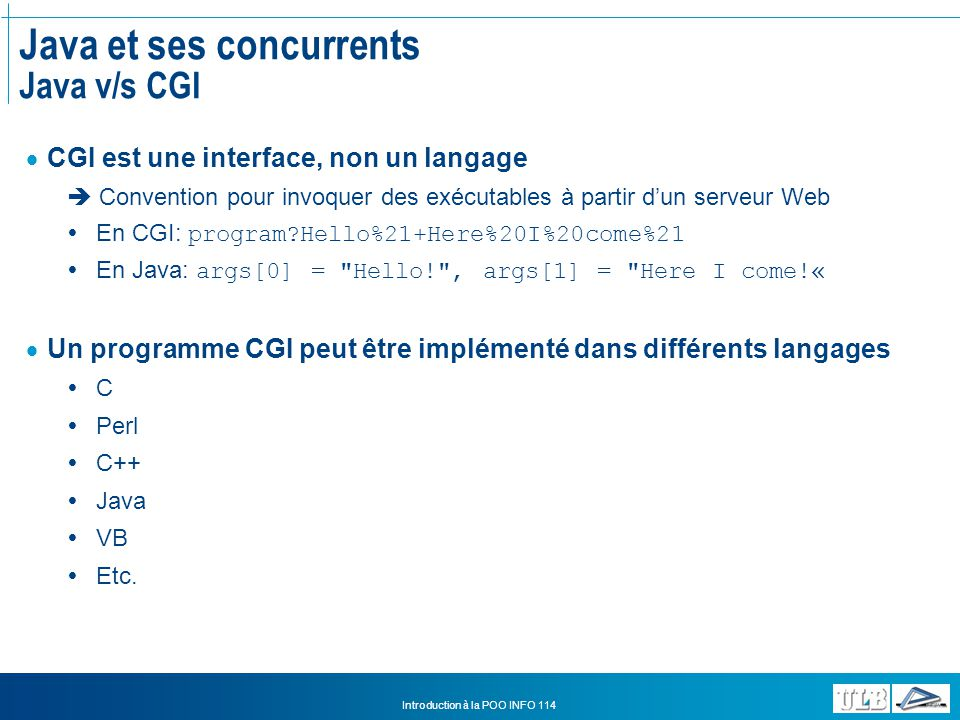 Java et ses concurrents Java v/s CGI