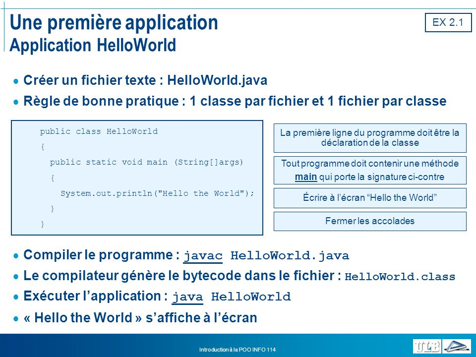 Une première application Application HelloWorld