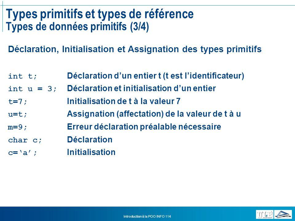 Types primitifs et types de référence Types de données primitifs (3/4)