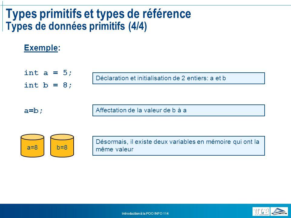 Types primitifs et types de référence Types de données primitifs (4/4)
