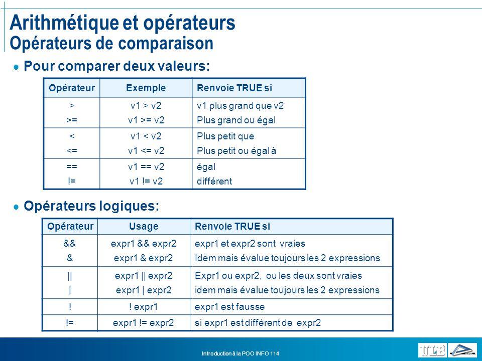 Arithmétique et opérateurs Opérateurs de comparaison