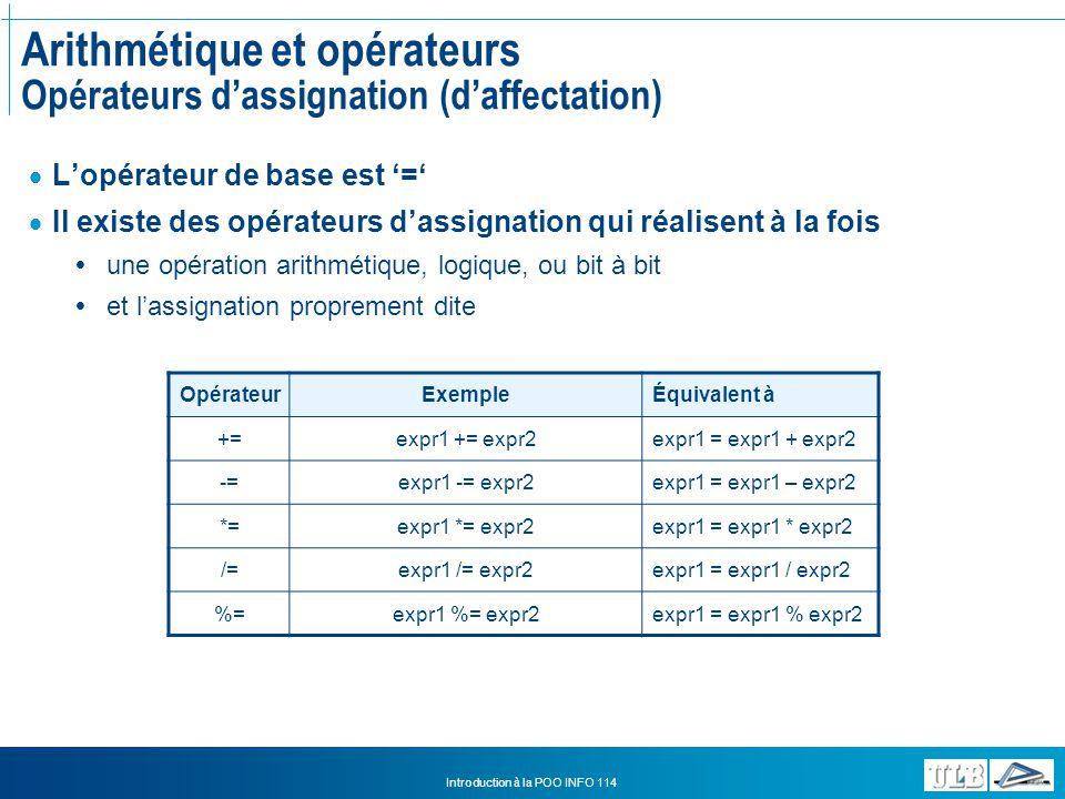 Arithmétique et opérateurs Opérateurs d'assignation (d'affectation)
