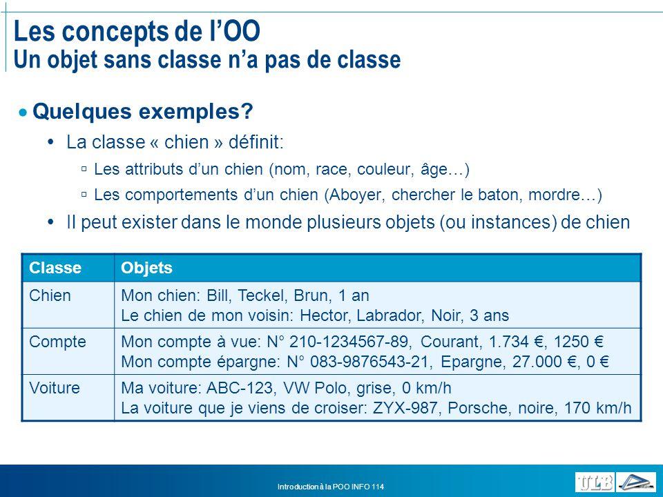 Les concepts de l'OO Un objet sans classe n'a pas de classe