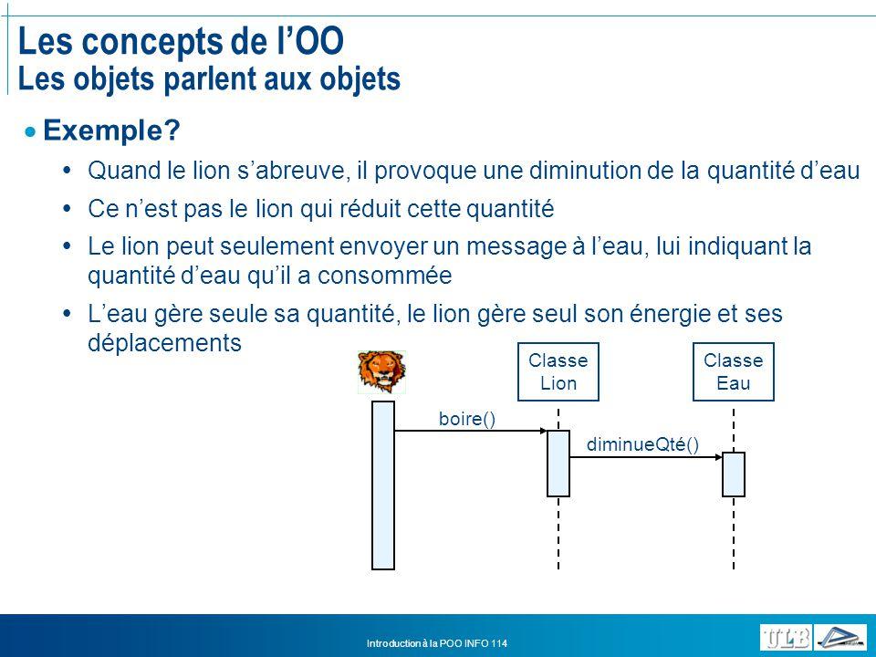 Les concepts de l'OO Les objets parlent aux objets