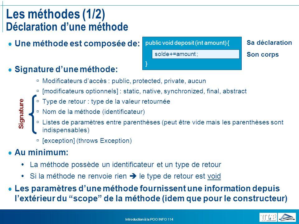 Les méthodes (1/2) Déclaration d'une méthode