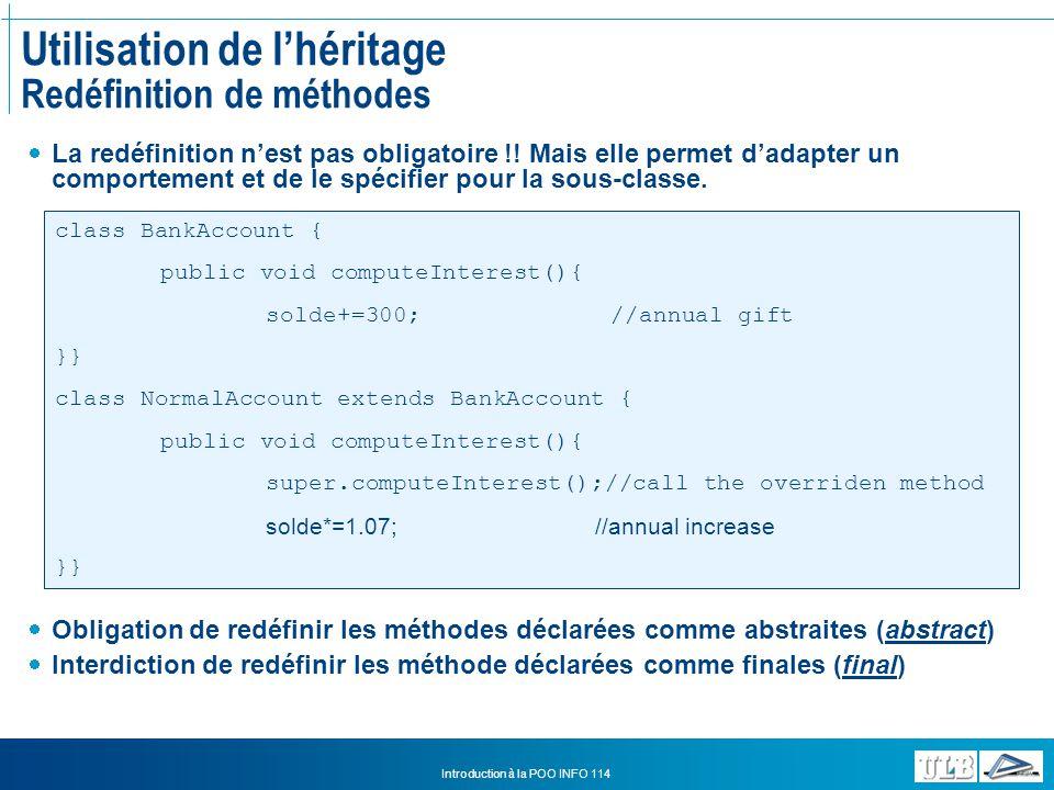 Utilisation de l'héritage Redéfinition de méthodes