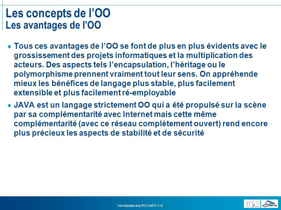 Les concepts de l'OO Les avantages de l'OO