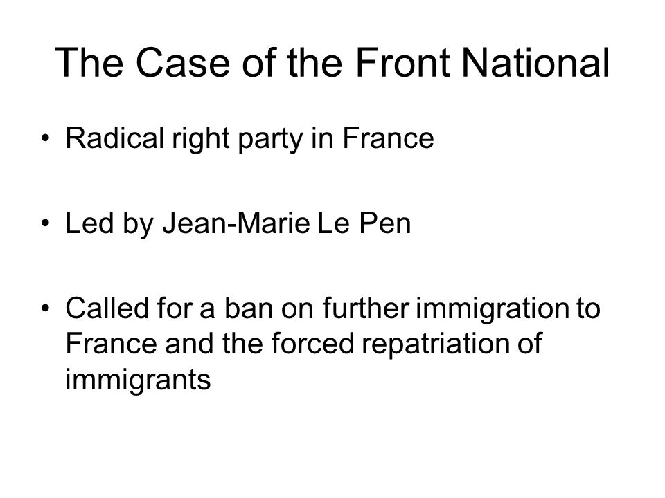 The Case of the Front National