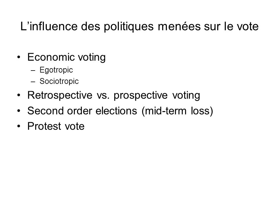 L'influence des politiques menées sur le vote