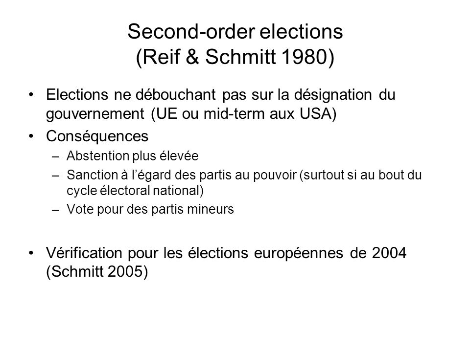 Second-order elections (Reif & Schmitt 1980)