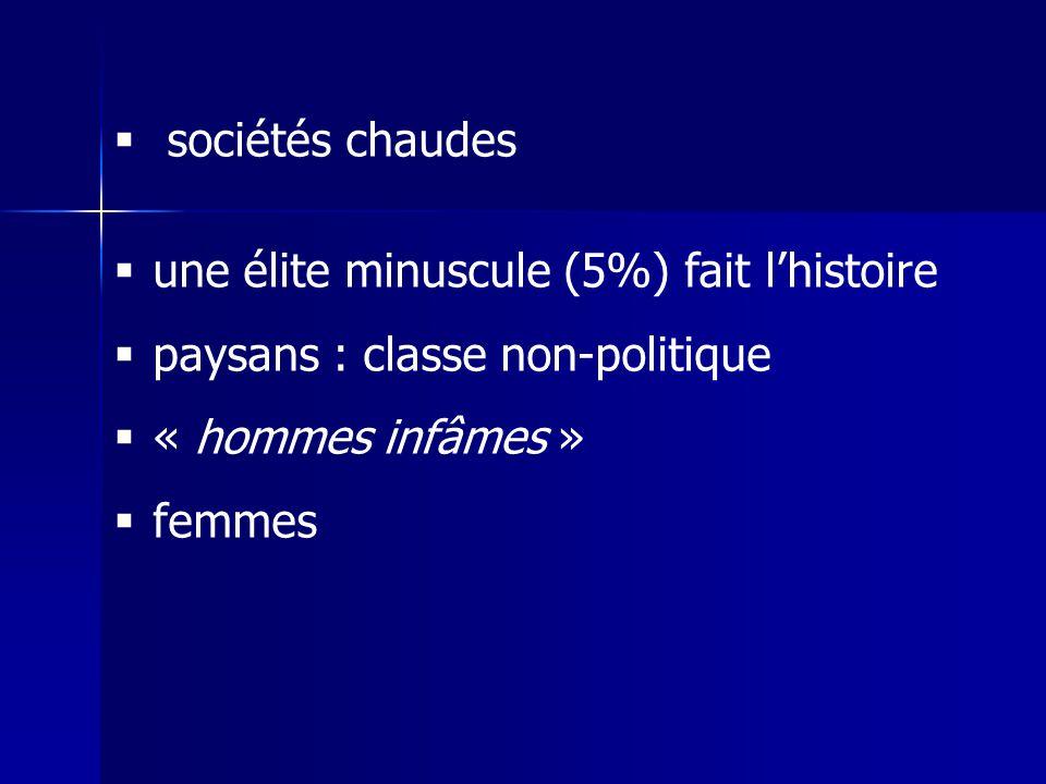 sociétés chaudes une élite minuscule (5%) fait l'histoire. paysans : classe non-politique. « hommes infâmes »