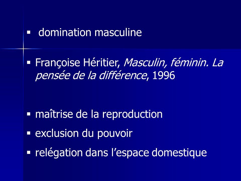 domination masculine Françoise Héritier, Masculin, féminin. La pensée de la différence, 1996. maîtrise de la reproduction.