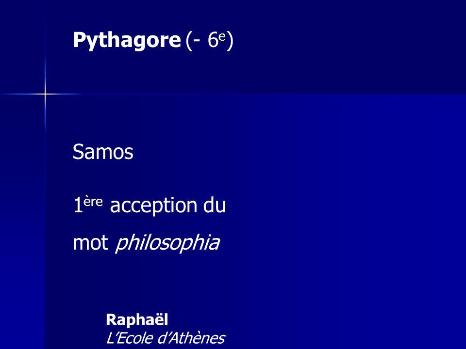 Pythagore (- 6e) Samos 1ère acception du mot philosophia Raphaël