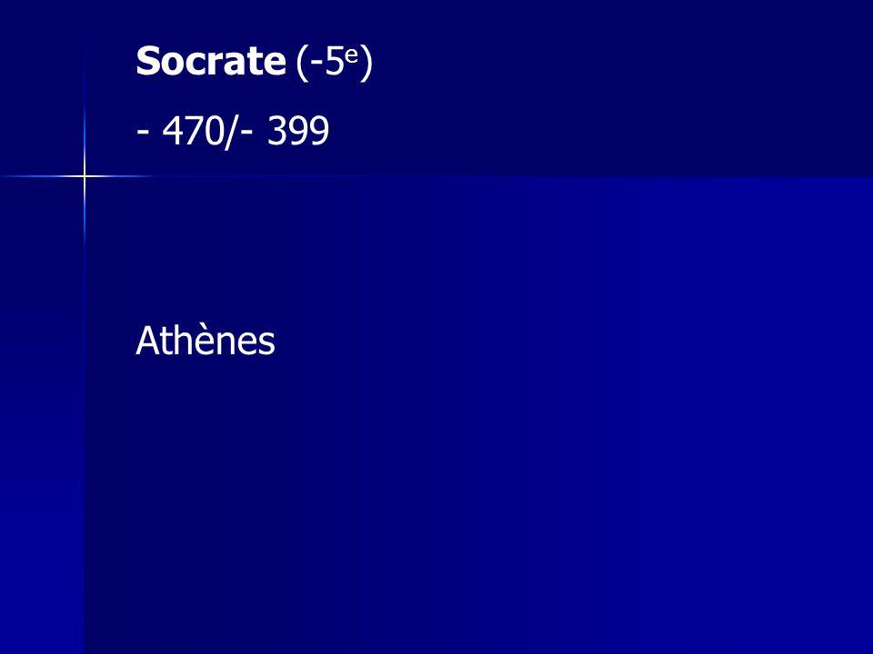 Socrate (-5e) 470/- 399 Athènes