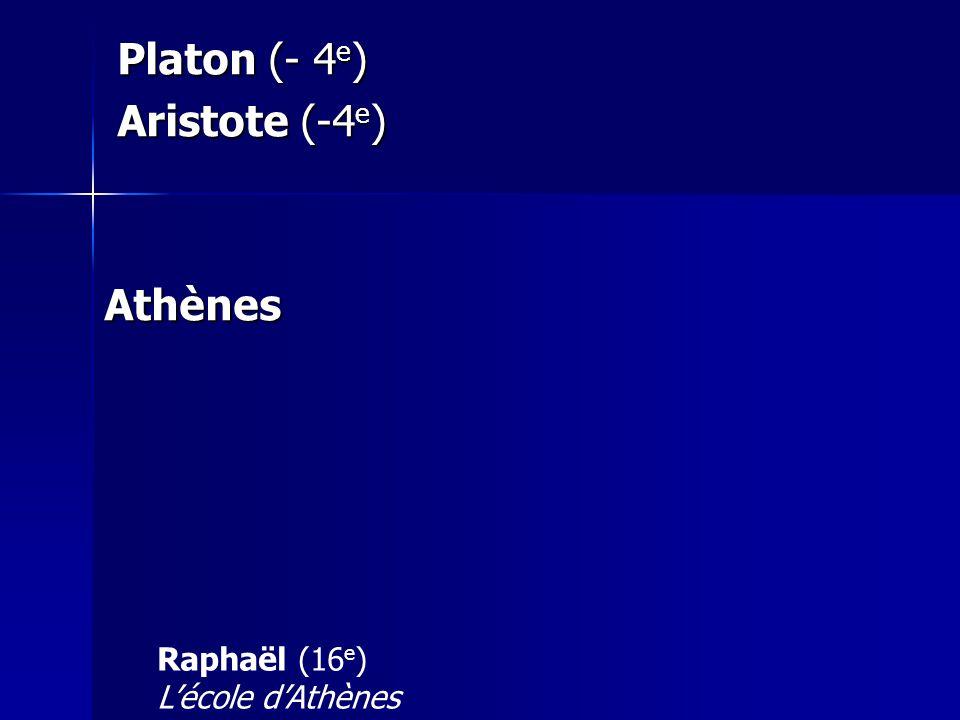 Platon (- 4e) Aristote (-4e) Athènes Raphaël (16e) L'école d'Athènes