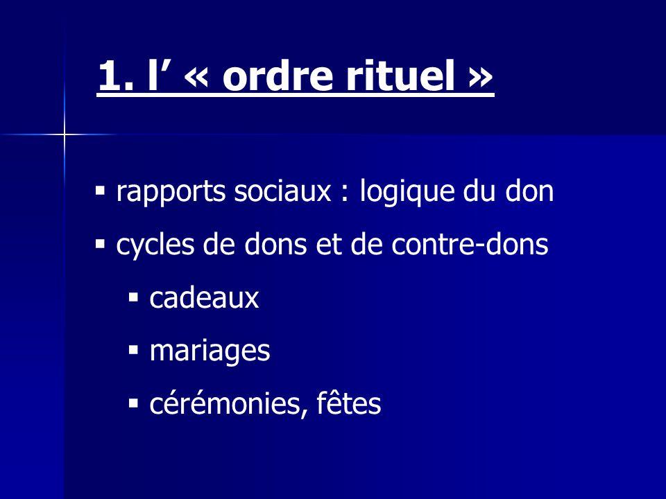 1. l' « ordre rituel » rapports sociaux : logique du don