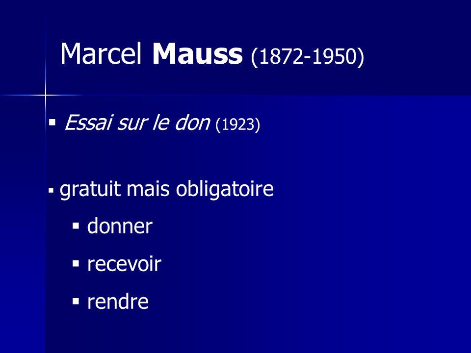 Marcel Mauss (1872-1950) Essai sur le don (1923) donner recevoir