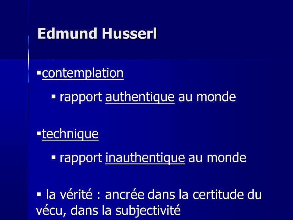Edmund Husserl contemplation rapport authentique au monde technique