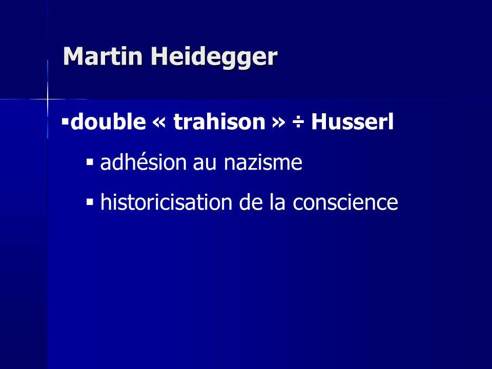 Martin Heidegger double « trahison » ÷ Husserl adhésion au nazisme