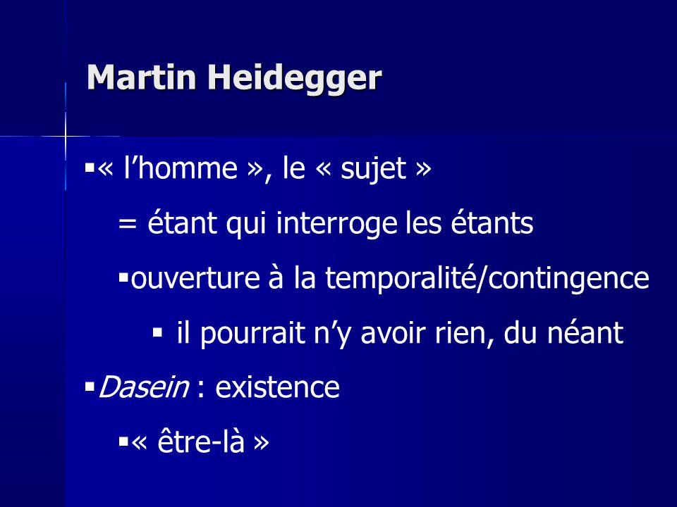 Martin Heidegger « l'homme », le « sujet »