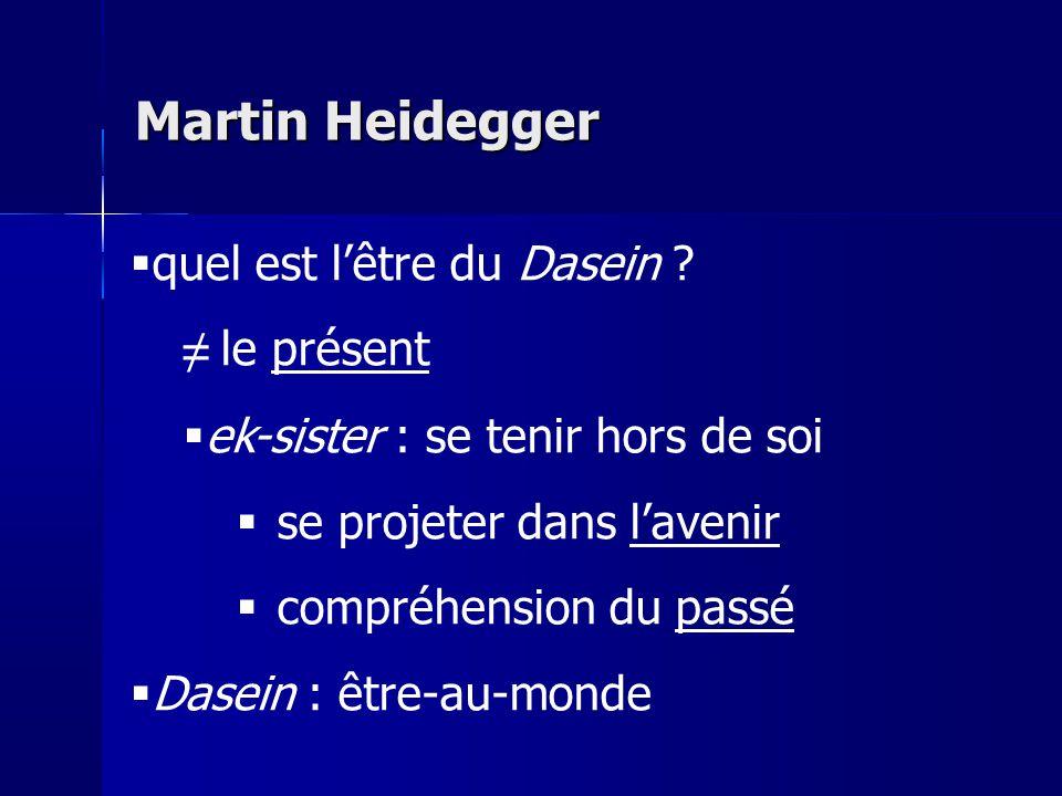 Martin Heidegger quel est l'être du Dasein ≠ le présent