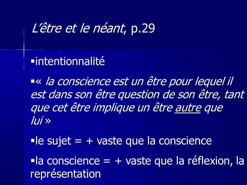 L'être et le néant, p.29 intentionnalité