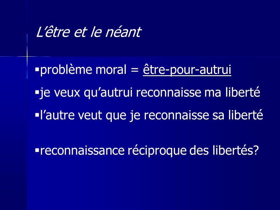L'être et le néant problème moral = être-pour-autrui